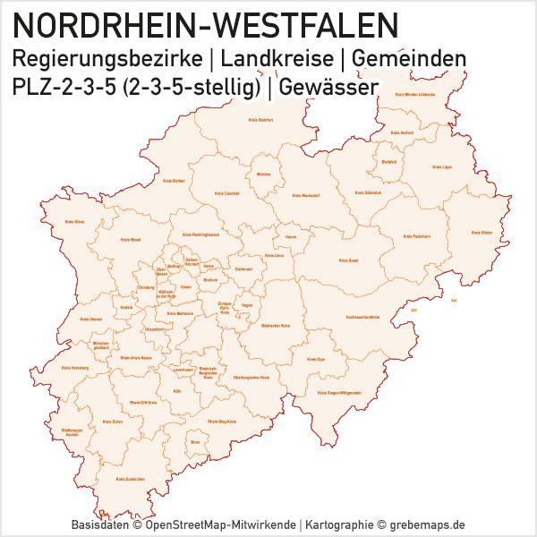 Nordrhein-Westfalen NRW Vektorkarte Landkreise Gemeinden PLZ-2-3-5, Karte PLZ NRW, Karte PLZ Nordrhein-Westfalen, Gemeindekarte NRW, Karte NRW