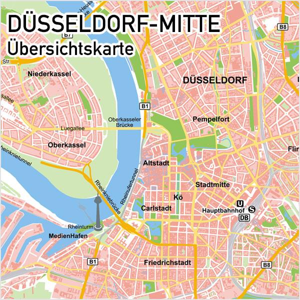Düsseldorf-Mitte Übersichtskarte Vektorkarte