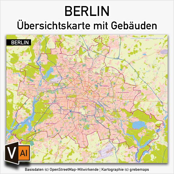 Berlin Karte Vektor Übersicht Mit Gebäuden Stadtteilen Topographie