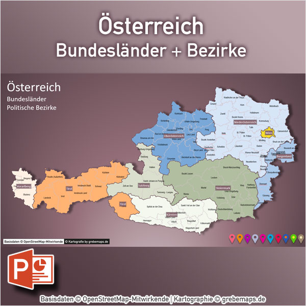 PowerPoint-Karte Österreich Austria Bundesländer Bezirke