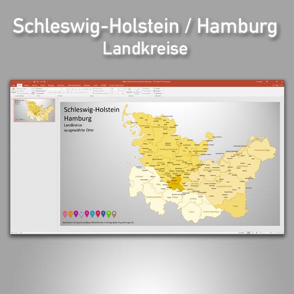 Schleswig-Holstein Hamburg PowerPoint-Karte Landkreise