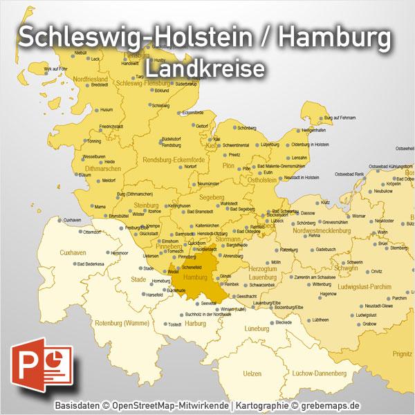 PowerPoint-Karte Schleswig-Holstein Hamburg Landkreise