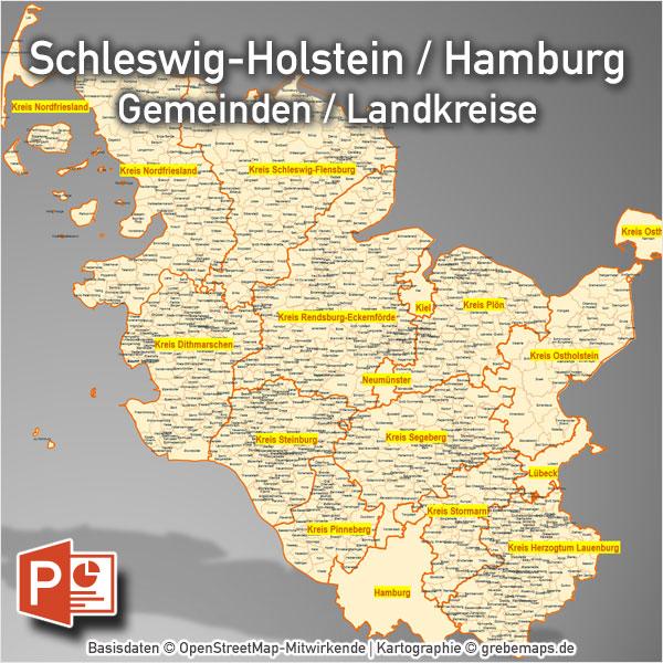 PowerPoint-Karte Schleswig-Holstein Hamburg Gemeinden Landkreise