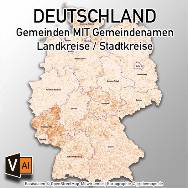 Deutschland Gemeinden MIT Gemeindenamen Vektorkarte Landkreise (2018)
