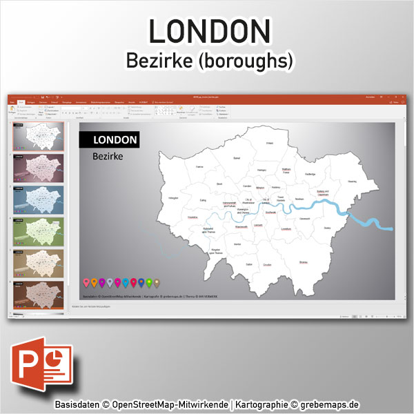 PowerPoint-Karte London Bezirke Boroughs