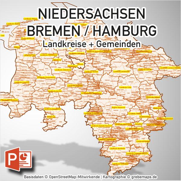 PowerPoint-Karte Niedersachsen Bremen Hamburg Landkreise Gemeinden