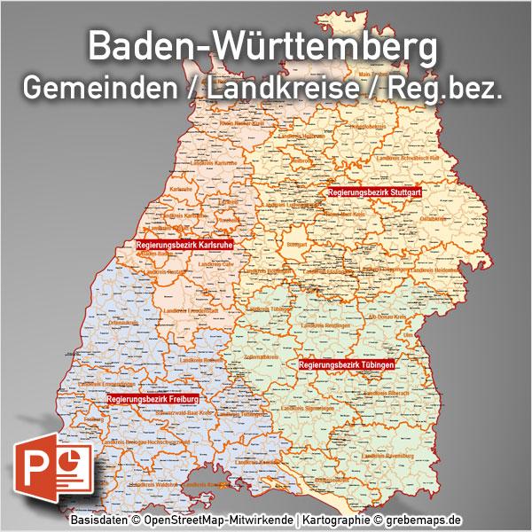 PowerPoint-Karte Baden-Württemberg Landkreise Gemeinden