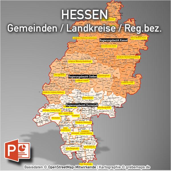 PowerPoint-Karte Hessen Landkreise Gemeinden