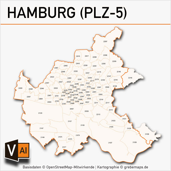 Hamburg Postleitzahlen-Karte PLZ-5 Vektor