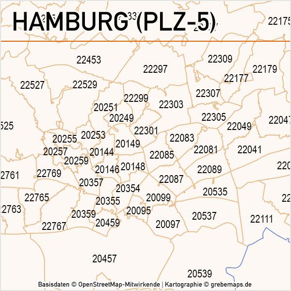 Hamburg Postleitzahlen-Karte PLZ-5 Vektor, Karte PLZ Hamburg 5-stellig, Hamburg PLZ Karte