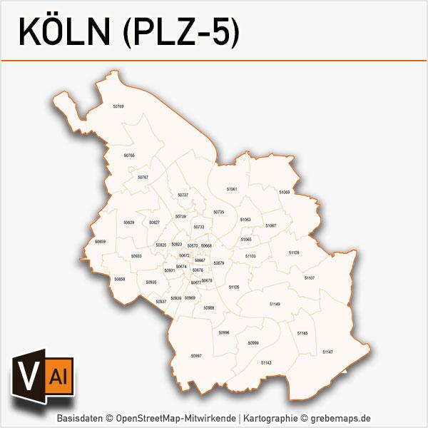 Köln Postleitzahlen-Karte PLZ-5 Vektor
