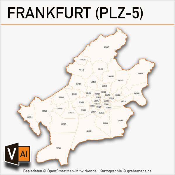 Frankfurt Postleitzahlen-Karte PLZ-5 Vektor