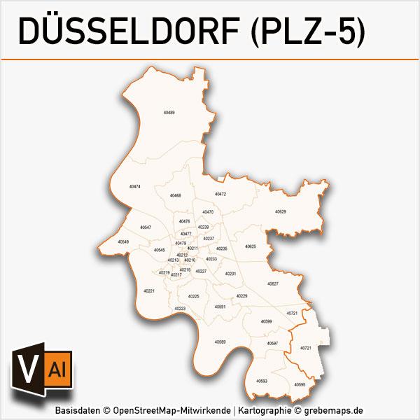 Düsseldorf Postleitzahlen-Karte PLZ-5 Vektor