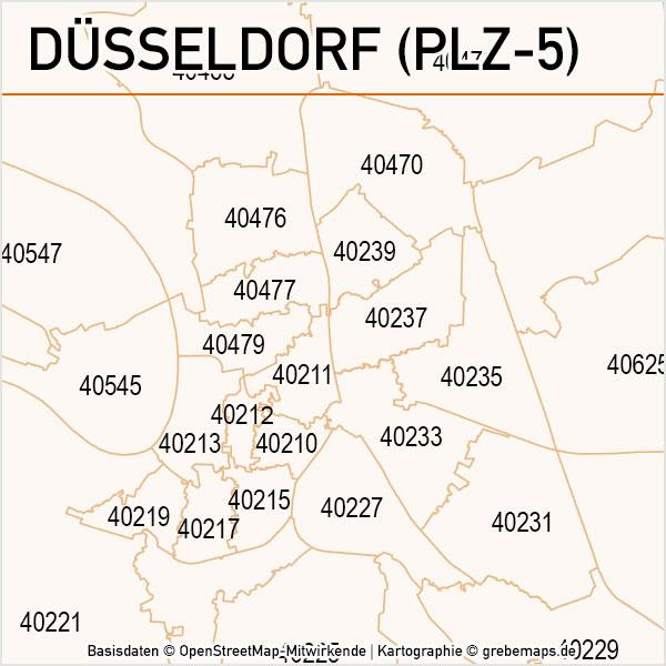 Düsseldorf Postleitzahlen-Karte PLZ-5 Vektor, PLZ-Karte Düsseldorf, Karte PLZ Düsseldorf, Vektorkarte Düsseldorf PLZ 5-stellig