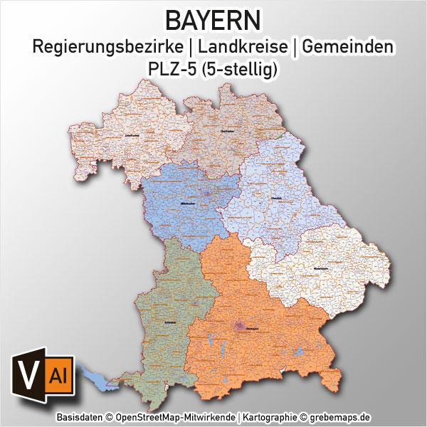 Bayern Vektorkarte Gemeinden Landkreise Regierungsbezirke PLZ-5
