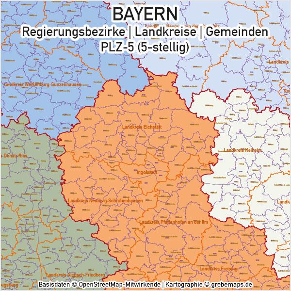 Bayern Vektorkarte Gemeinden Landkreise Regierungsbezirke PLZ-5, Karte Bayern Gemeinden, Karte Bayern Landkreise, Karte Bayern Postleitzahlen, PLZ-Karte Bayern 5-stellig