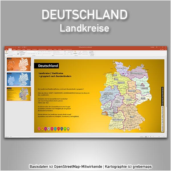Deutschland PowerPoint-Karte Landkreise Stadtkreise