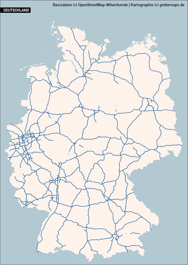 Deutschland PLUS Basiskarte Vektorkarte (2018), Basiskarte Deutschland Vektorkarte, Karte Deutschland Bundesländer mit Autobahnen, Orte, Gewässer, Karte Deutschland Regierungsbezirke