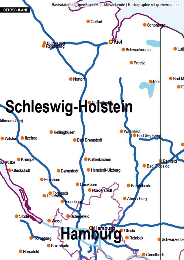 Basiskarte Deutschland Vektorkarte, Karte Deutschland Bundesländer mit Autobahnen, Orte, Gewässer, Karte Deutschland Regierungsbezirke