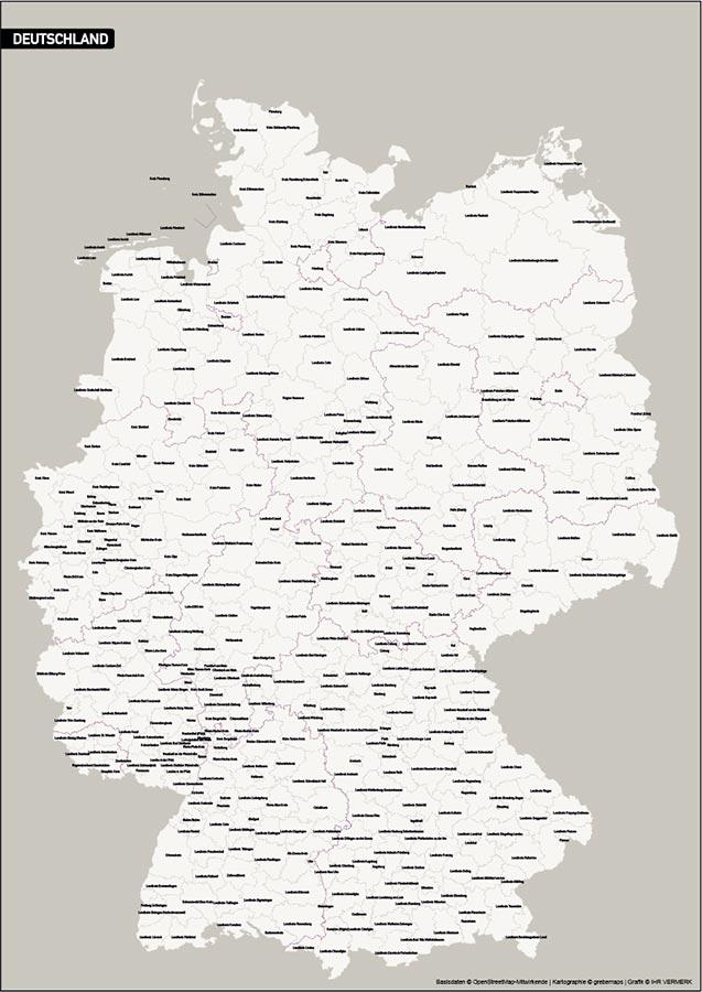 Deutschland PLUS Landkreise Stadtkreise Vektorkarte, Vektorkarte Deutschland Landkreise Stadtkreise