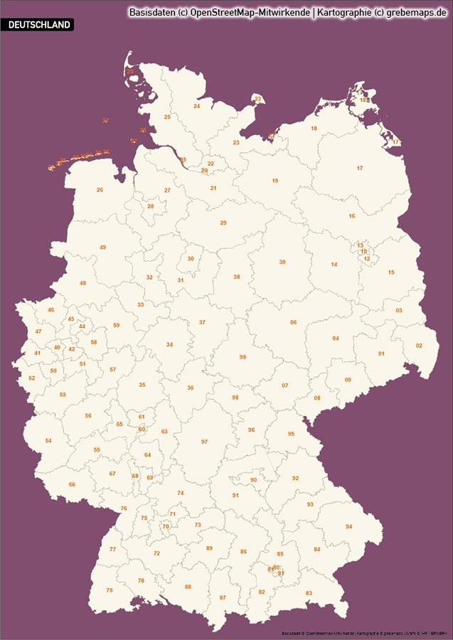 Deutschland PLUS Postleitzahlen PLZ 1-2-3 Vektorkarte (2018), Karte Deutschland Postleitzahlen, Karte Deutschland Landkreise, Karte Deutschland Gemeinden, Karte Deutschland Basis