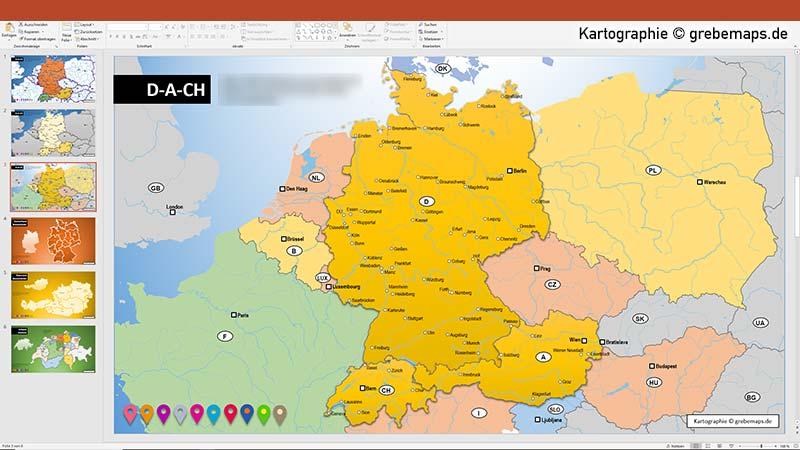 D-A-CH PowerPoint-Karte Deutschland Austria Schweiz, Karte D-A-CH für PowerPoint mit Bundesländern und Kantonen, Karte D-A-CH mit angrenzenden Ländern (Polen, Niederlande, Belgien, Luxemburg, Tschechien, Ungarn, Frankreich)D-A-CH PowerPoint-Karte Deutschland Austria Schweiz, Karte D-A-CH für PowerPoint mit Bundesländern und Kantonen, Karte D-A-CH mit angrenzenden Ländern (Polen, Niederlande, Belgien, Luxemburg, Tschechien, Ungarn, Frankreich)