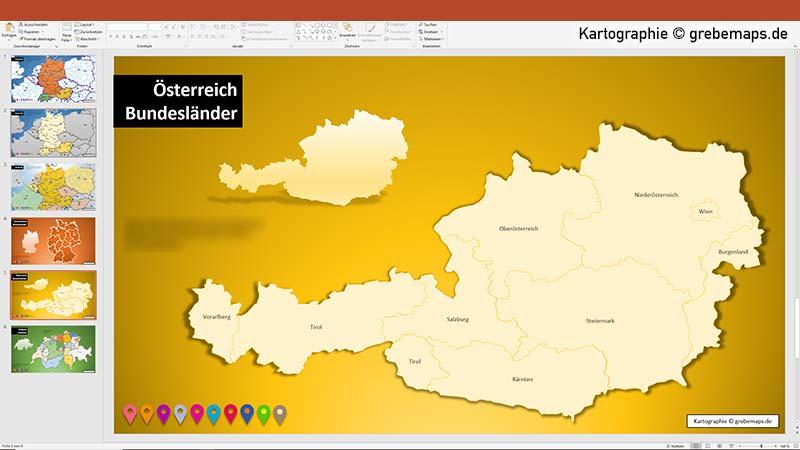 Karte Österreich für PowerPoint mit Bundesländern, Karte Bundesländer Austria