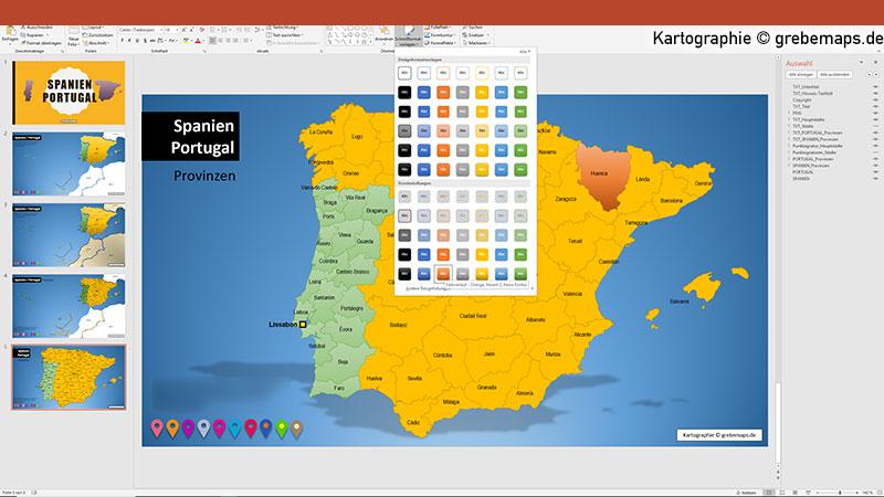 Spanien Portugal PowerPoint-Karte mit Provinzen, Vektorkarte Spanien Portugal mit Provinzen für PowerPoint, Karte Spanien Portugal mit Provinzen, Kanaren, Balearen, Azoren