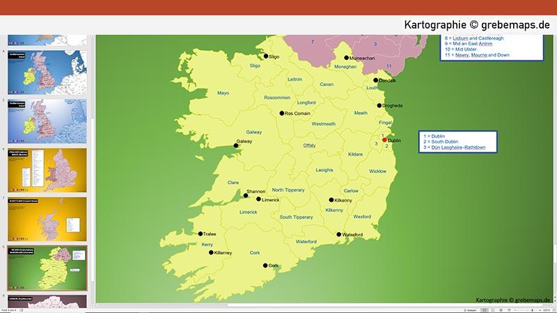 Großbritannien Irland PowerPoint-Karte mit Provinzen, Karte Irland