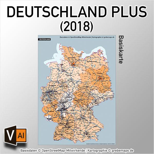 Deutschland PLUS Basiskarte Vektorkarte Bundesländer Autobahnen Gewässer Orte (2018)