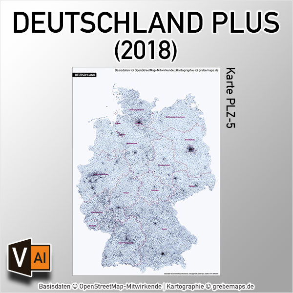 Deutschland Postleitzahlenkarte PLZ-5 Vektorkarte – PLUS (2018)