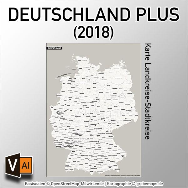 Deutschland PLUS Landkreise Stadtkreise Vektorkarte (2018)