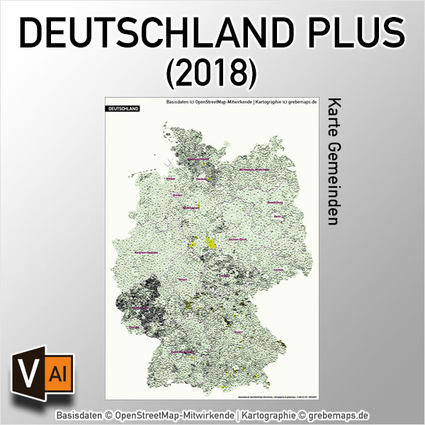 Deutschland PLUS Gemeinden Vektorkarte (2018)