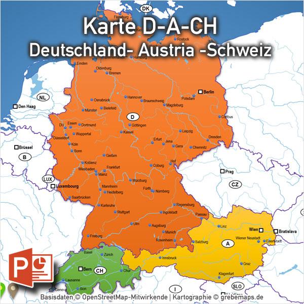 PowerPoint-Karte D-A-CH Deutschland Austria Schweiz Mit Bundesländern / Kantonen