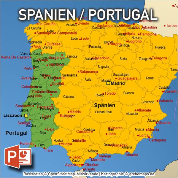PowerPoint-Karte Spanien Portugal Mit Provinzen