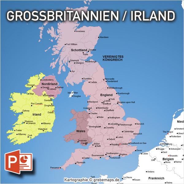 PowerPoint-Karte Großbritannien Irland Mit Provinzen