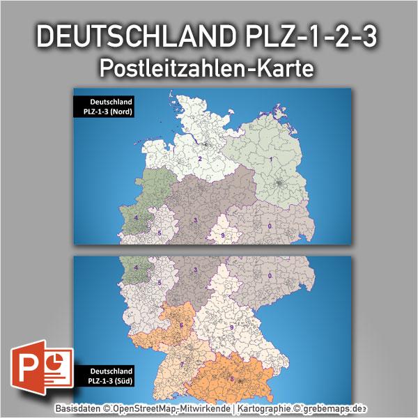 PowerPoint-Karte Deutschland Postleitzahlen PLZ-1-2-3