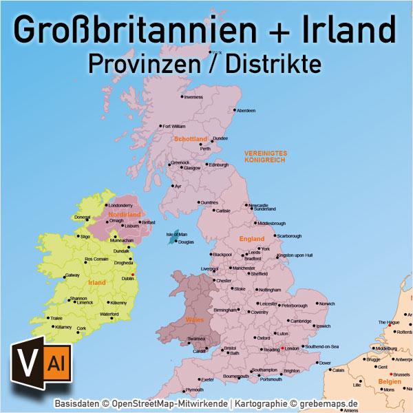 Großbritannien Irland Vektorkarte England Schottland Wales Nordirland Provinzen Distrikte