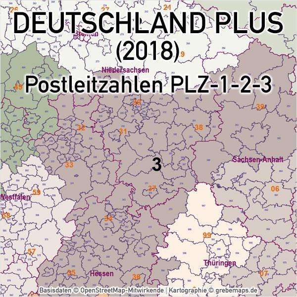 Deutschland Postleitzahlenkarte PLZ 1-2-3 Vektorkarte (2018), Karte Deutschland Postleitzahlen, Karte Deutschland Landkreise, Karte Deutschland Gemeinden, Karte Deutschland Basis