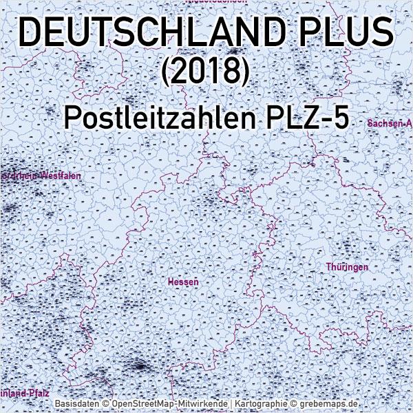 Deutschland Postleitzahlenkarte PLZ-5 Vektorkarte, Karte Deutschland Postleitzahlen, Karte Deutschland Landkreise, Karte Deutschland Gemeinden, Karte Deutschland Basis