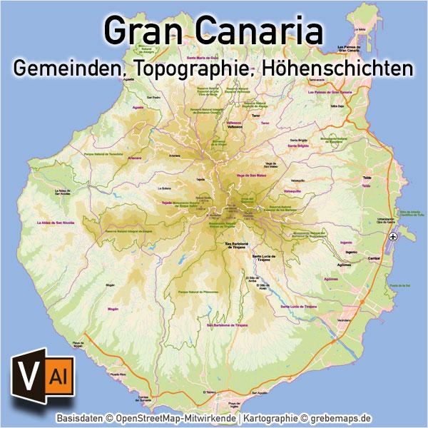 Gran Canaria Vektorkarte Topographie Gemeinden Höhenschichten