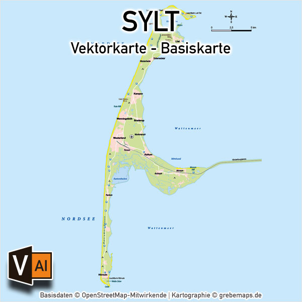 Sylt Vektorkarte Basiskarte (DIN A4)