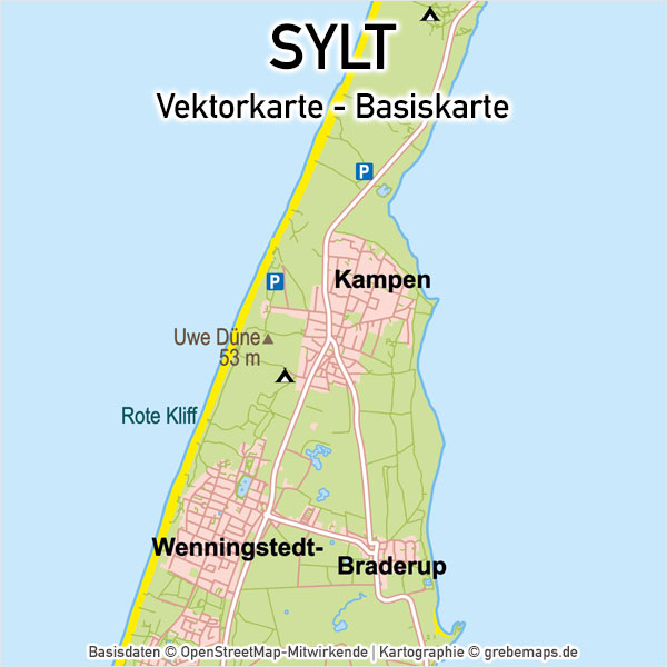 Sylt Vektorkarte Basiskarte, Basiskarte Insel Sylt, Karte Sylt Vektor, Karte Insel Sylt, Landkarte Sylt, Vektorkarte Insel Sylt