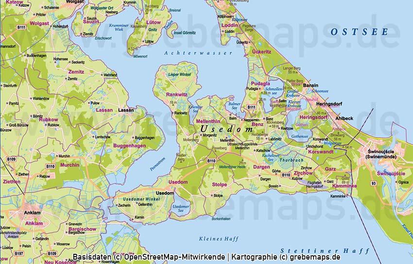 Usedom Vektorkarte Topographie mit Gemeindegrenzen, Karte Insel Usedom Vektor, Karte Usedom Print, Karte Usedom Druck, Inselkarte Usedom, Landkarte Usedom, Karte Vektor Usedom, Landkarte Usedom
