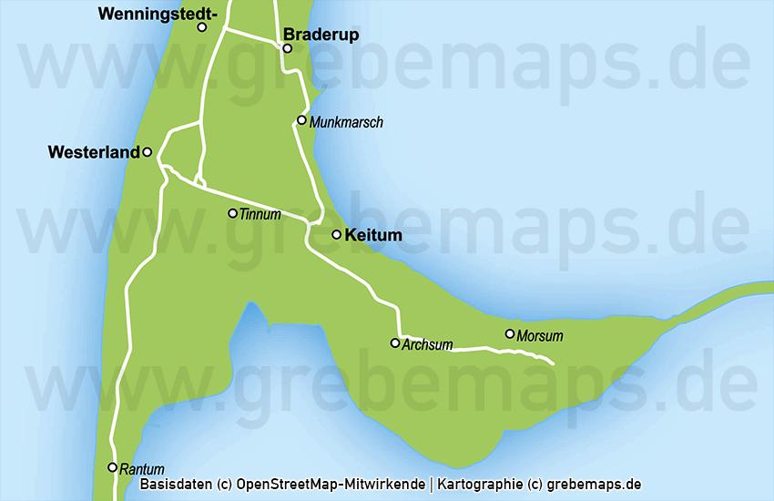 Sylt Vektorkarte einfache Inselkarte Karte Insel Sylt