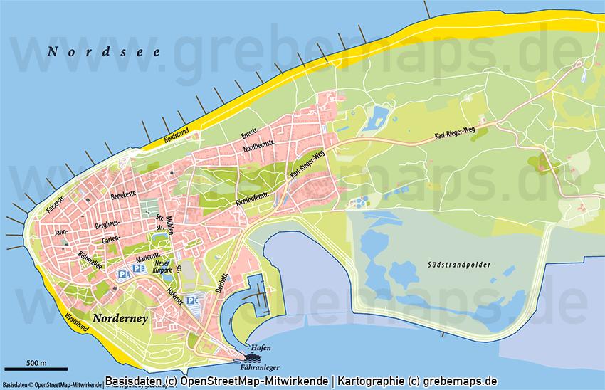 Norderney Ortsplan mit Gebäuden Vektorkarte, Ortsplan Norderney mit Gebäuden, Karte Norderney, Stadtplan Norderney