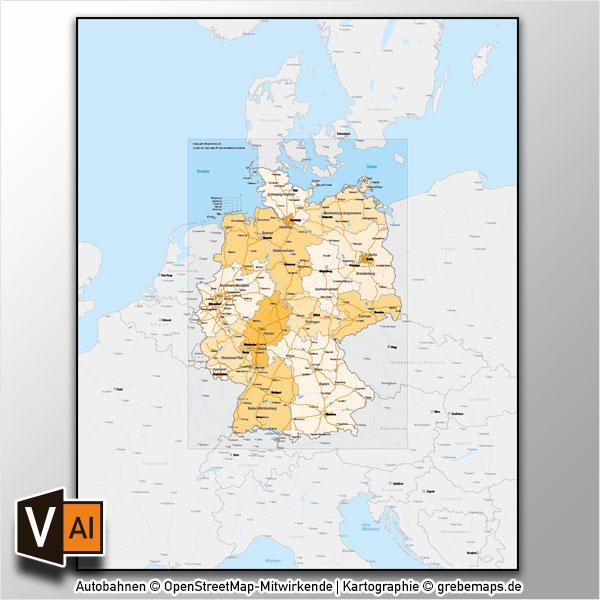 Deutschland Bundesländer Autobahnen Vektorkarte Mit Angrenzenden Ländern
