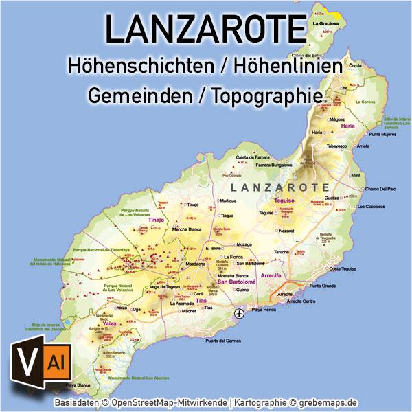 Lanzarote Vektorkarte Topographie Gemeinden Höhenschichten