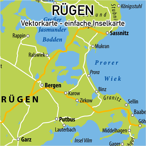 Rügen Vektorkarte Einfache Inselkarte Karte Rügen Vektor