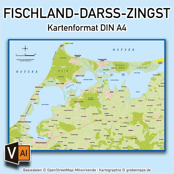 Fischland-Darß-Zingst Vektorkarte Basiskarte (DIN A4)